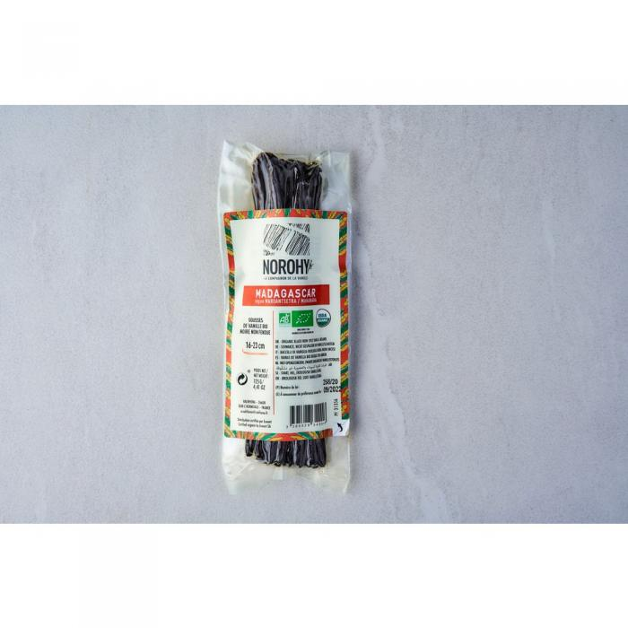 gousse de vanille bio de madagascar 125 g 16-23 cm par norohy