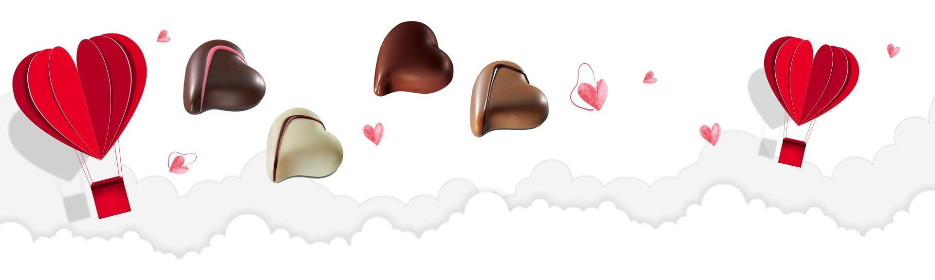 Bonbons de chocolats coeurs Valrhona